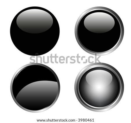 4 Classy Black Web Buttons with silver metallic edging