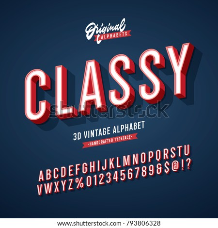 'Classy' Vintage 3D Sans Serif Condensed Alphabet with Rich Colors. Retro Typography. Vector Illustration.