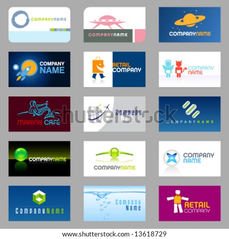 15 clean vector, easy to edit, business cards and logos