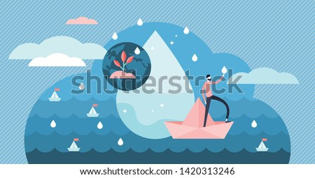 Clean water flat tiny person concept vector illustration. Planet earth ecological environment and ocean natural balance scene. Pollution removal and drinking water resources preservation initiative.