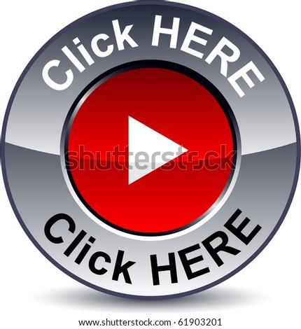 Click Here Button. stock vector : Click here round metallic utton. Vector.