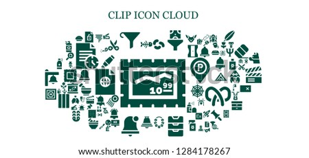 clip icon set. 93 filled clip icons. Simple modern icons about  - Stamp, Fish bone, File, Funnel, Jelly beans, Flower, Inbox, Bell, Alarm bell, Helipad, Spray, Tornado, Stapler