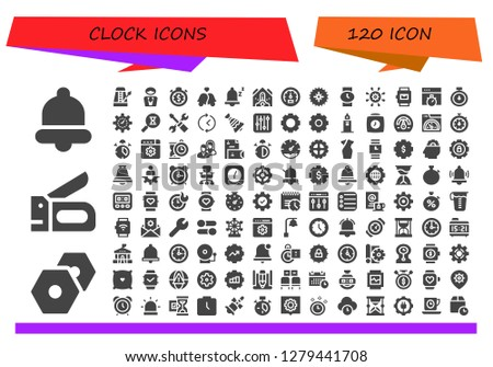 clock icon set. 120 filled clock icons. Simple modern icons about  - Bell, Settings, Stapler, Metronome, Manager, Stopwatch, Bells, Snooze, Falling debris, Speedometer, Gear