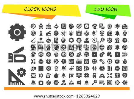 clock icon set. 120 filled clock icons. Simple modern icons about  - Settings, Stapler, Office chair, School, Manager, Time, Clock, Alarm, Wait, Big ben, Clocks, Clock tower