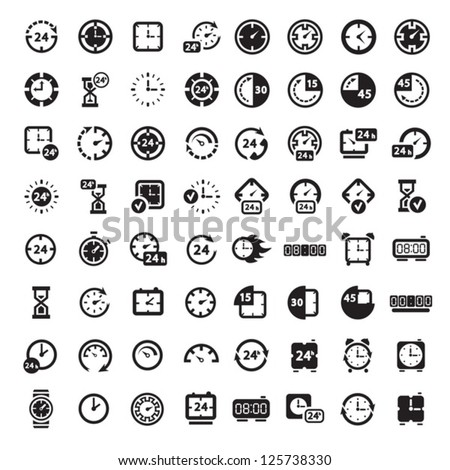 64 Clock Icon Set for web and mobile. All elements are grouped.