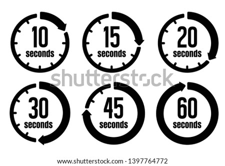Clock , timer (time passage) icon set ( form 10 seconds to 60 seconds) Foto stock ©