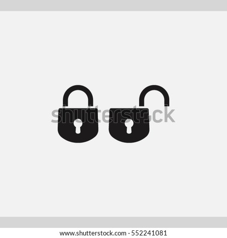 closed and open locks icon. One of set web icons