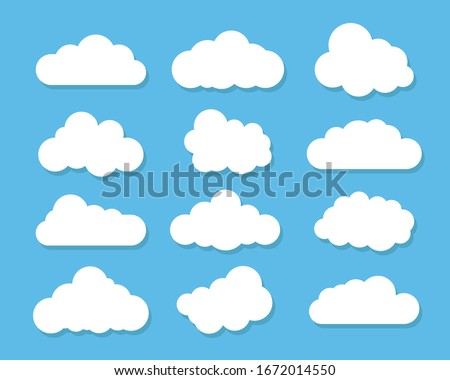 Cloud icon, vector illustration. Cloud symbol or logo, different clouds set