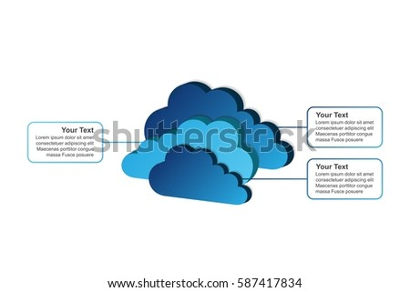 3 clouds   vector infographic