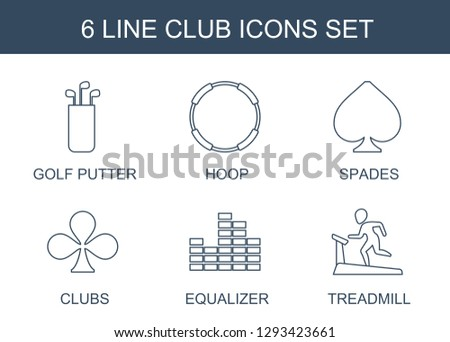 6 club icons. Trendy club icons white background. Included line icons such as golf putter, hoop, Spades, Clubs, equalizer, treadmill. club icon for web and mobile.