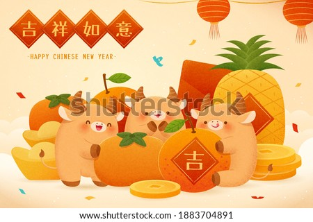 2021 CNY greeting card in hand drawn design, with cute cattle enjoying fresh fruit. Concept of Chinese zodiac sign ox. Translation: Fortune, Happy Chinese new year