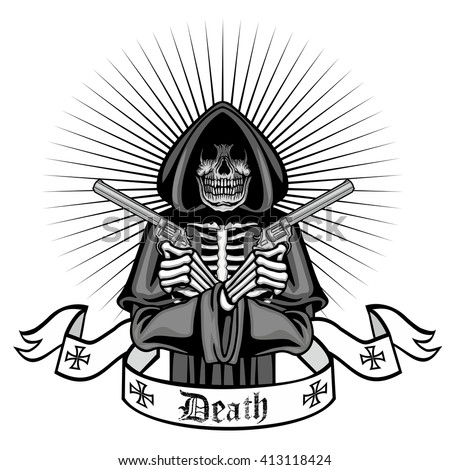 coat of arms with skull, grunge and with guns.vintage design t-shirts  Foto stock ©