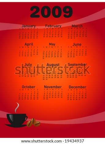 2009 coffee calendar - stock vector