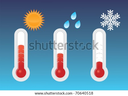 Cold, Warm, and Hot Thermometers - stock vector