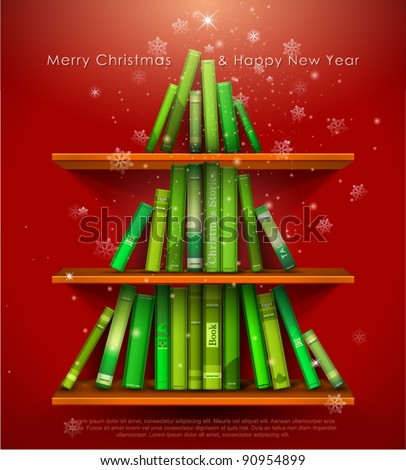"""Collection of Christmas Stories"". Christmas tree formed from books on the bookshelf. Vector Illustration."