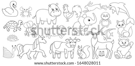 Collection of cute animals: farm animals, wild animals, marina animals, isolated on white background. Vector illustration design template.