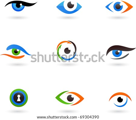 Collection of eye icons - stock vector