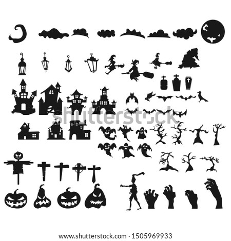 Collection of halloween silhouettes icon
