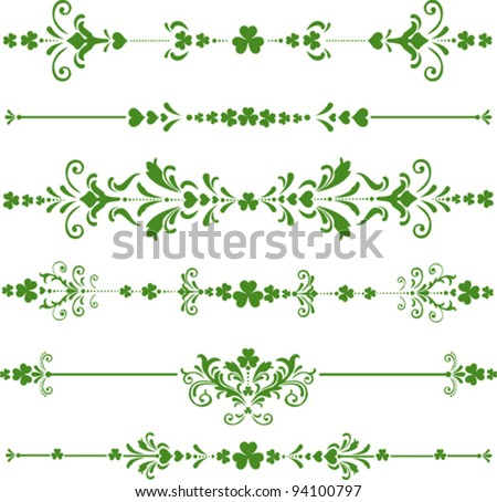 Collection of  St. Patrick's Day design elements isolated on White background. Vector illustration
