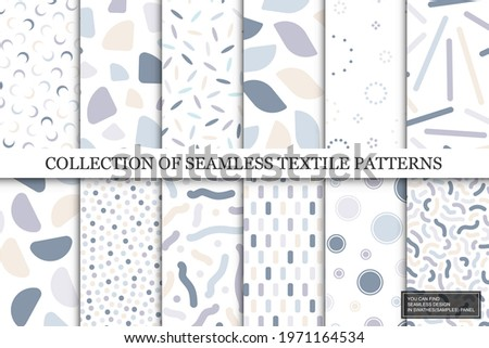 Collection of vector seamless colorful patterns. Trendy delicate textile design. Simple unusual prints. You can find repeatable backgrounds in swatches panel.
