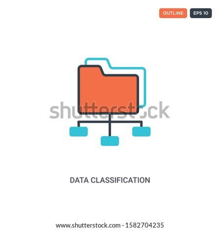 2 color data classification concept line vector icon. isolated two colored data classification outline icon with blue and red colors can be use for web, mobile. Stroke line eps 10. Foto stock ©