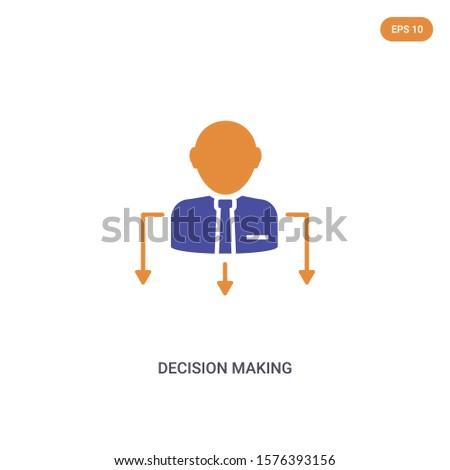 2 color Decision Making concept vector icon. isolated two color Decision Making vector sign symbol designed with blue and orange colors can be use for web, mobile and logo. eps 10.