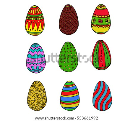 Color Easter eggs collection in doodle style on white background. vector illustration. #553661992
