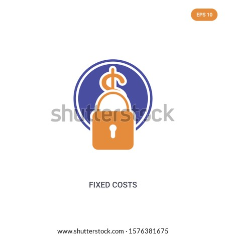 2 color Fixed costs concept vector icon. isolated two color Fixed costs vector sign symbol designed with blue and orange colors can be use for web, mobile and logo. eps 10.