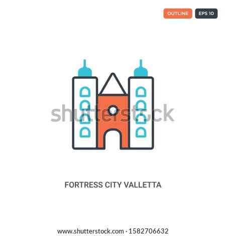 2 color fortress city valletta