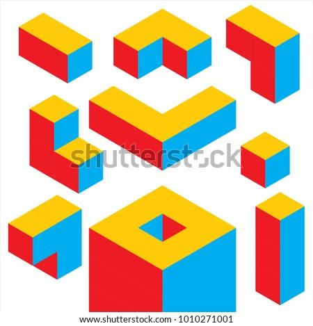 3 color geometric 3d object
