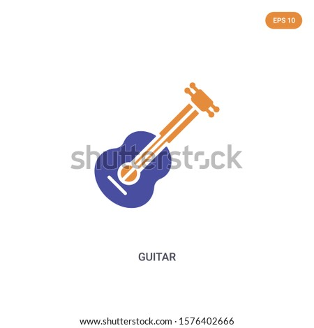 2 color guitar concept vector
