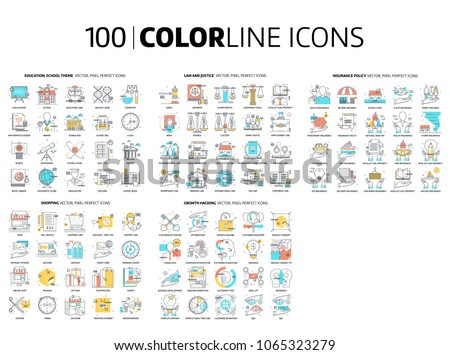 100 Color line icons, illustrations, icons, backgrounds and graphics. The illustration is colorful, flat, vector, pixel perfect, suitable for web and print. It is linear stokes and fills.