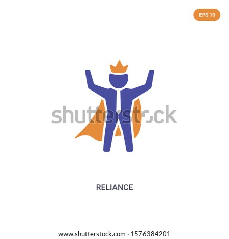 2 color reliance concept vector icon. isolated two color reliance vector sign symbol designed with blue and orange colors can be use for web, mobile and logo. eps 10.