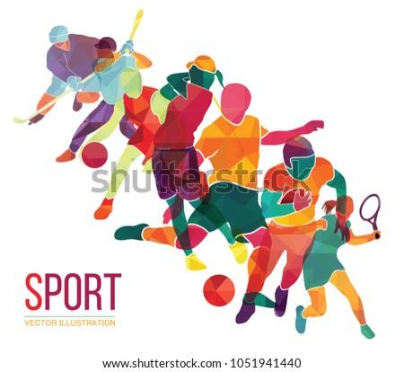 Color sport background. Football, basketball, hockey, soccer, golf, tennis. Vector illustration