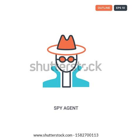 2 color spy agent concept line