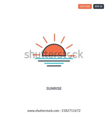 2 color sunrise concept line