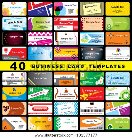 40 Color Vector Template For Horizontal Business Cards