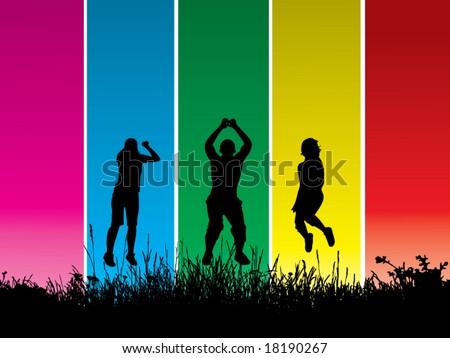 Color wallpaper jumping vector - stock vector