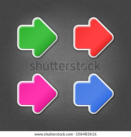 4 colored arrow sign stickers web icon. Smooth green, red, purple, cobalt internet button with drop shadow on gray background with noise effect. This vector illustration design element saved in 10 eps