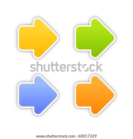 4 colored arrow sign web 2.0 stickers with shadow on white background. 10 eps