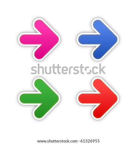 4 colored arrow symbol stickers web 2.0 buttons with shadow on white background. 10 eps