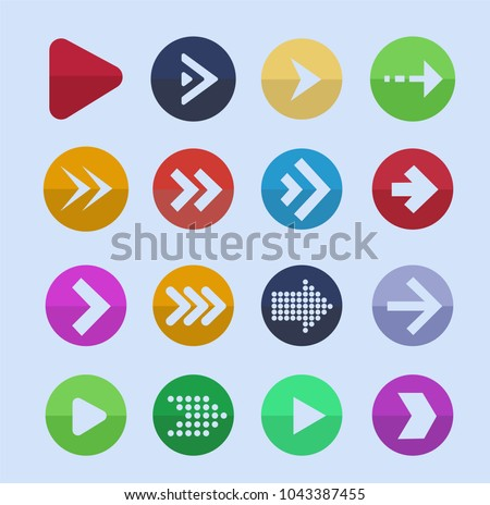 Colored arrows. Vector icon set of arrow pointer for navigation interface illustration.