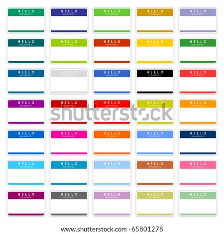 35 colored badge name tag HELLO my name is. Blank sticker with shadow on white background