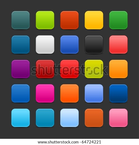 25 colored blank square web 2.0 button. Smooth satined shapes with shadow on gray background