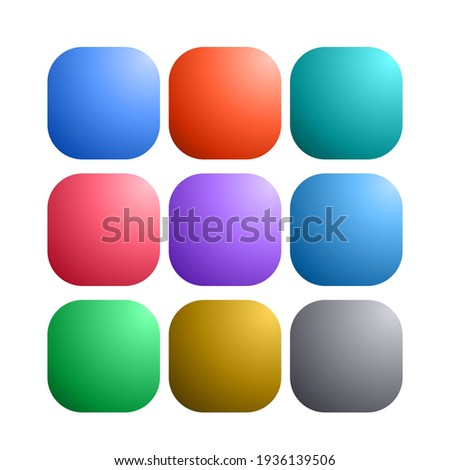 9 colored blank web internet button. Satin rounded square shapes. Stock Vector illustration isolated