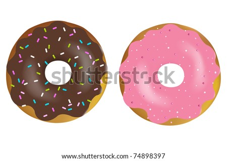 2 Colorful And Tasty Donuts, Isolated On White Background, Vector Illustration