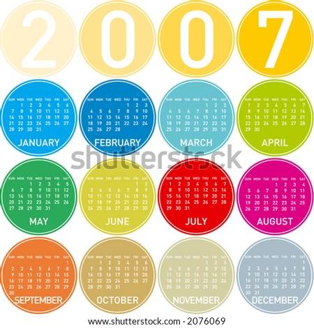 2007 colorful calendar  in a