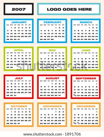 2007 Colorful Calendar (in vector format, can be scaled to any size)