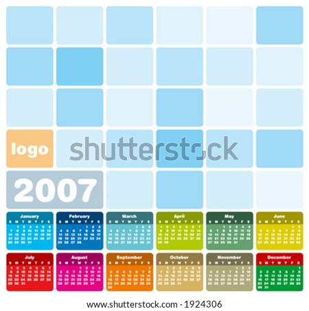 2007 Colorful Calendar (in vector format, can be scaled to any size. Type is both as fonts and as curves)