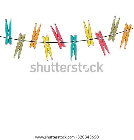 Colorful  cartoon clothespins on the white background ストックフォト ©
